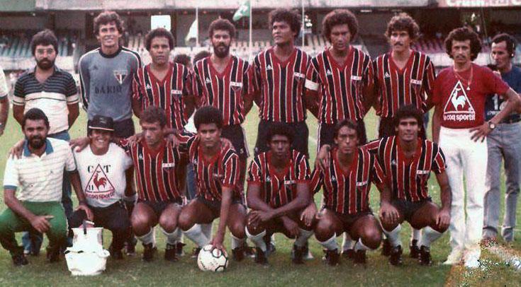 Ferroviário em 1984  último ano da francesa Le Coq Sportif no vistoso  material esportivo do clube f9a74f320b694